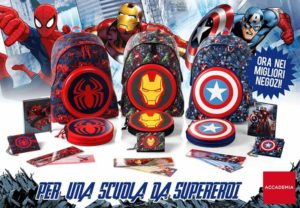 Linea scuola Marvel disponibili Spider-Man,iron man e captain america by accademia
